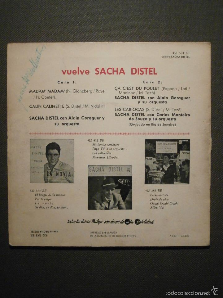 Discos de vinilo: DISCO - VINILO - EP - VUELVE SACHA DISTEL - MADAM' MADAM' / CALIN CALINETTE + 2 - PHILIPS - 1961 - Foto 2 - 58409739