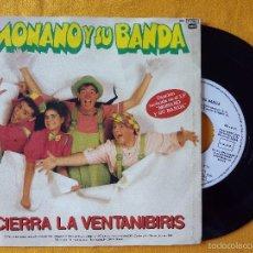 Discos de vinilo: MONANO Y SU BANDA, CIERRA LA VENTANIBIRIS + LOS EWOKS (EMI) SINGLE PROMOCIONAL. Lote 207822536