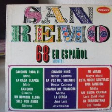 Discos de vinilo: LP SAN REMO 68 EN ESPAÑOL, VOLUMEN 1, EDITADO EN VENEZUELA, CON MIRLA , GIMENO, MIRTHA Y OTROS. Lote 58432955