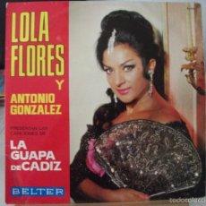 Discos de vinilo: LP DE LOLA FLORES, DE LA OBRA LA GUAPA DE CADIZ (DISCOS BELTER, 1966), VER FOTOS. Lote 58451006