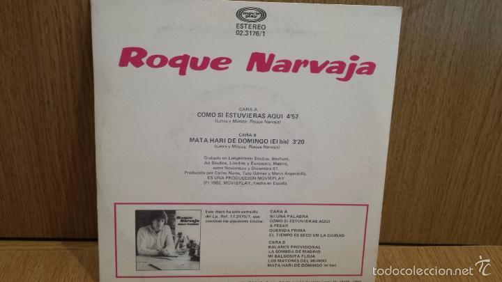 Discos de vinilo: ROQUE NARVAJA. COMO SI ESTUVIERAS AQUÍ. SINGLE / MOVIE PLAY - 1982 / CASI LUJO. ***/**** - Foto 2 - 58478856