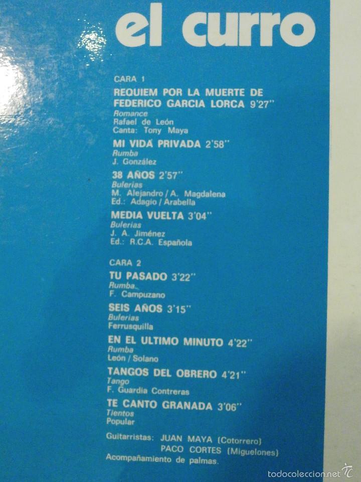 Discos de vinilo: Disco - Vinilo - Lp - El curro - Columbia 1976 - Firmado por el autor - Flamenco Raro y muy escaso - - Foto 5 - 58489617