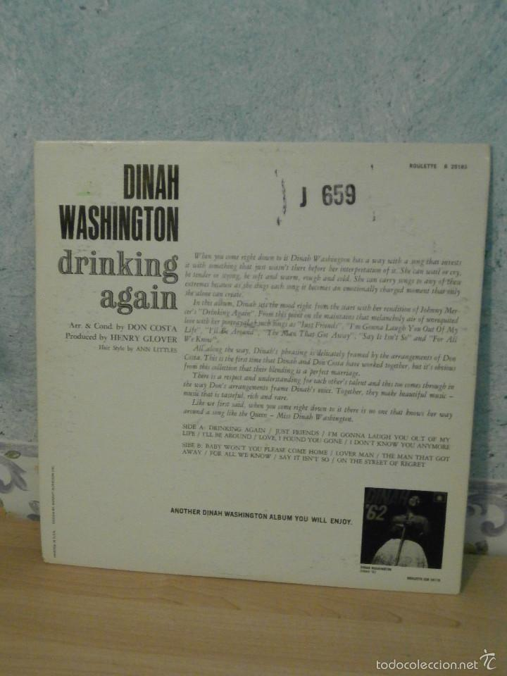 Discos de vinilo: DISCO - VINILO - LP - DINAH WASHINGTON - DRINKING AGAIN - ROULETTE RECORDS INC, 1962 - RARO Y ESCASO - Foto 2 - 58546183