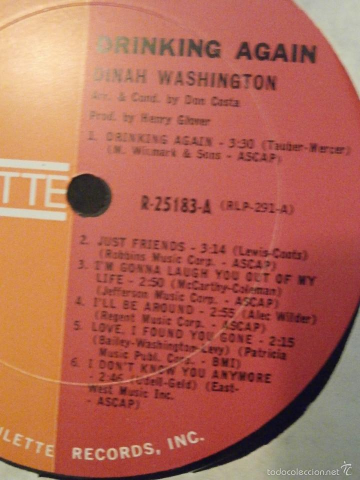 Discos de vinilo: DISCO - VINILO - LP - DINAH WASHINGTON - DRINKING AGAIN - ROULETTE RECORDS INC, 1962 - RARO Y ESCASO - Foto 3 - 58546183
