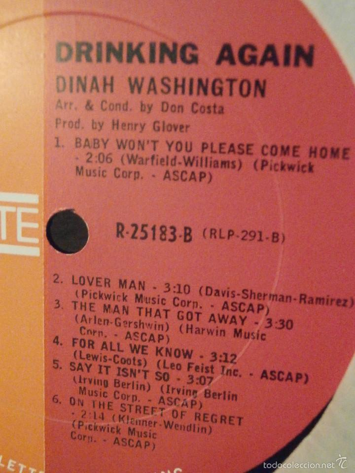 Discos de vinilo: DISCO - VINILO - LP - DINAH WASHINGTON - DRINKING AGAIN - ROULETTE RECORDS INC, 1962 - RARO Y ESCASO - Foto 4 - 58546183