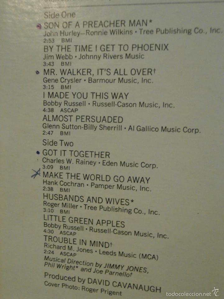 Discos de vinilo: DISCO - VINILO - LP - NANCY WILSON - SONG OF A PREACHER MAN, CAPITOL - 1969 - MUY RARO - ST-234 - Foto 2 - 58551489