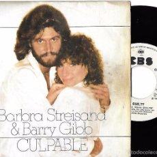 Disques de vinyle: BARBRA STREISAND & BARRY GIBB: CULPABLE (GUILTY) / LIFE STORY. Lote 58560287