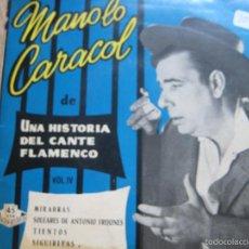 Discos de vinilo: MANOLO CARACOL EP HISPAVOX 1959 UNA HISTORIA DEL CANTE FLAMENCO VOL 4 MIRABRAS/ SOLEARES +2. Lote 58566750
