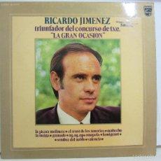 Discos de vinilo: RICARDO JIMENEZ - TRIUNFADOR CONCURSO TVE LA GRAN OCASION - 1972 - NM+/VG+. Lote 58577948