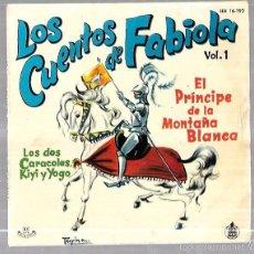 Discos de vinilo: SINGLE DE LOS CUENTOS DE FABIOLA. VOL. 1 LOS DOS CARACOLES, KIYI Y YOGO. EL PRINCIPE DE LA MONTAÑA. Lote 140032032