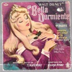 Discos de vinilo: SINGLE DE LA BELLA DURMIENTE. 1ª PARTE. WALT DISNEY. MUSICA DEL BALLET DE TCHAIKOVSKI. . Lote 58591514