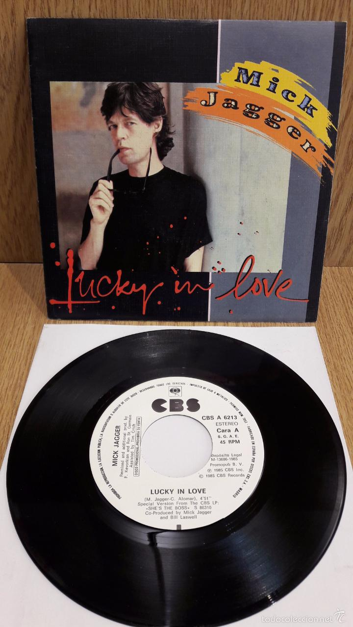 MICK JAGGER. LUCKY IN LOVE. SINGLE-PROMO / CBS - 1985 / SOLO 1 CARA. CALIDAD LUJO. ****/**** (Música - Discos - Singles Vinilo - Rock & Roll)