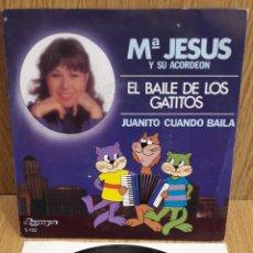 Discos de vinilo: Mª JESÚS Y SU ACORDEÓN. EL BAILE DE LOS GATITOS. SINGLE / OLYMPO - 1982 / MBC. ***/***. Lote 58595213