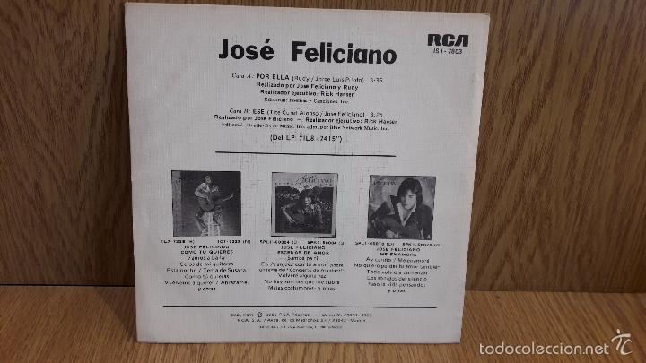 Discos de vinilo: JOSÉ FELICIANO. POR ELLA. / SINGLE-PROMO / RCA-VICTOR - 1985. CALIDAD LUJO. ****/**** - Foto 2 - 58595500