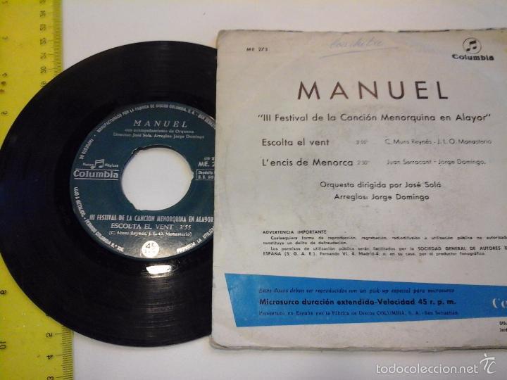 Discos de vinilo: musica single manuel escolta el vent lencis de menorca oj.c - Foto 2 - 141831658