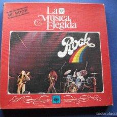 Discos de vinilo: LA MUSICA ELEGIDA / EL ROCK / CAJA CON 4 LP´S Y LIBRETO DE 94 PAGINAS COMO NUEVO PROMO. Lote 58631345