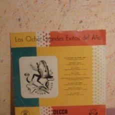 Discos de vinilo: DISCO - VINILO - LP - LOS OCHO GRANDES EXITOS DEL AÑO - VARIOS ARTISTAS - DECCA - AÑO +/- 1956. Lote 58637596