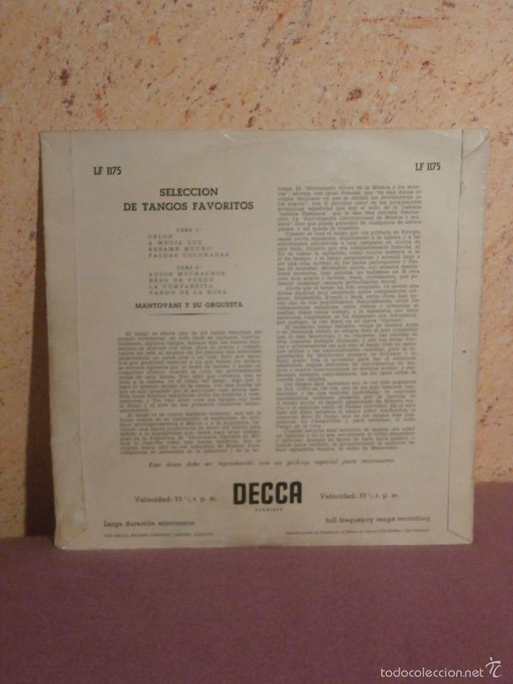 Discos de vinilo: DISCO - VINILO - LP - MANTOVANI Y SU ORQUESTA - SELECCIÓN TANGOS FAVORITOS - DECCA - AÑOS 50´S - Foto 2 - 58639069