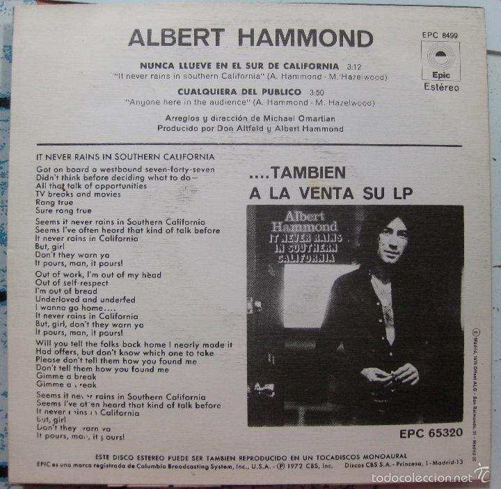 Discos de vinilo: Albert Hammond. Nunca llueve en el sur de California + Cualquiera del público. 1972 - Foto 2 - 58652699