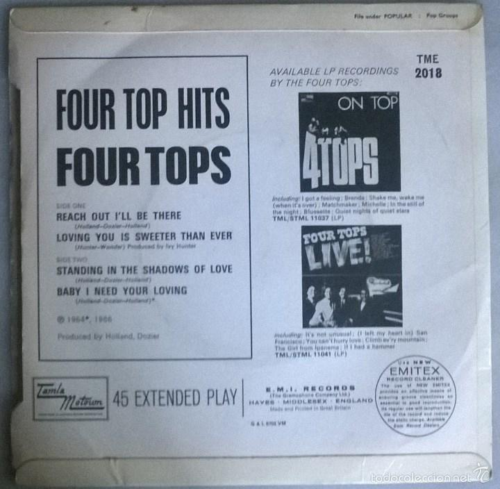Discos de vinilo: Four Tops. Hits. Reach Out I'll there/ Loving you is sweeter than ever +2.Talma Motown. UK 1966 ep - Foto 2 - 58672385