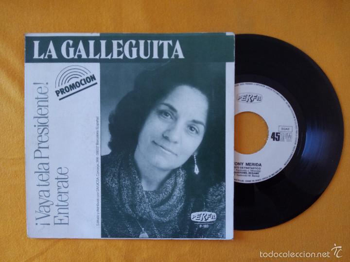 TONI MERIDA + LA GALLEGUITA (PERFIL) SINGLE EP PROMOCIONAL - ESTO ES FANTASTICO VAYA TELA PRESIDENTE (Música - Discos de Vinilo - EPs - Flamenco, Canción española y Cuplé)