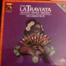 Discos de vinilo: CAJA CON 3 DISCOS Y LIBRETO. LA TRAVIATA DE VERDI INTERPRETADA POR KRAUS, BRUSON, SCOTTO . Lote 58724653