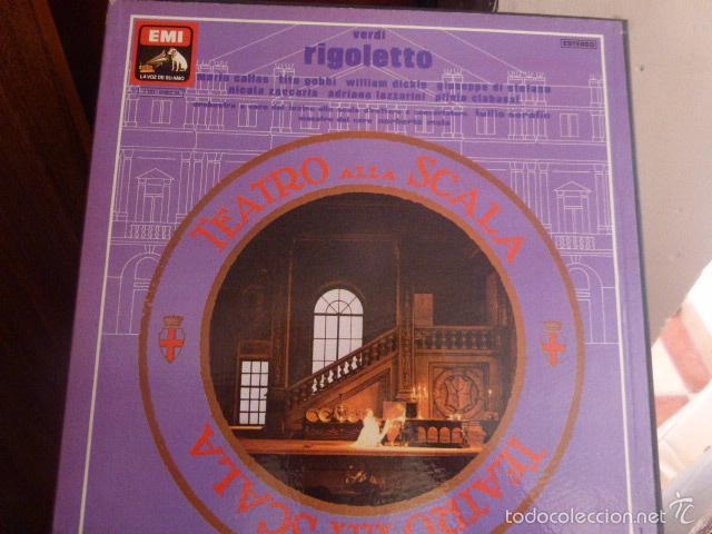 CAJA CON 3 DISCOS Y LIBRETO. RIGOLETTO DE VERDI (Música - Discos de Vinilo - Maxi Singles - Clásica, Ópera, Zarzuela y Marchas)