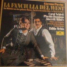 Discos de vinilo: CAJA CON 3 DISCOS Y LIBRETO LA FANCIULIA DEL WEST DE PUCCINI DIFERENTES ARTISTAS . Lote 58741306
