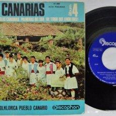 Discos de vinilo: AGRUPACION FOLKORICA PUEBLO CANARIO - ISLAS CANARIAS 4 - DISCOPHON - EP 4 TEMAS GATEFOLD. Lote 73980893
