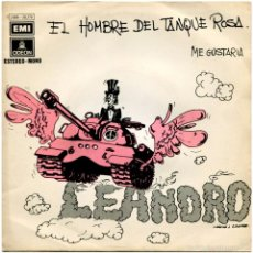 Discos de vinilo: LEANDRO – EL HOMBRE DEL TANQUE ROSA - SG PROMO SPAIN 1971 - ODEON 1 J 006-20.770. Lote 58843246