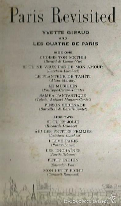 Discos de vinilo: LP YVETTE GIRAUD & LES QUATRE DE PARIS : PARIS REVISITED - Foto 3 - 59167365