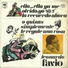 Discos de vinilo: LEONARDO FAVIO.. SINGLE. SELLO CBS. EDIT. EN ESPAÑA. AÑO 1969. Lote 59321050