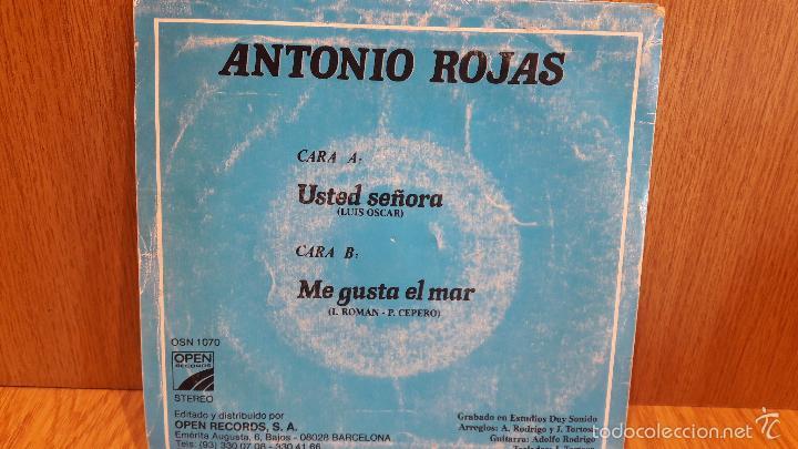 Discos de vinilo: FIRMADO !! ANTONIO ROJAS. USTED SEÑORA. SINGLE / OPEN RECORDS - 1986 / MBC.***/***FIRMADO - Foto 3 - 59599179