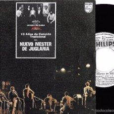 Discos de vinilo: NUEVO MESTER DE JUGLARÍA: JOTA DEL QUE SIQUE / UNA NIÑA SE HA MUERTO / CANCIÓN DE LOS BORRACHOS + 1. Lote 59659283