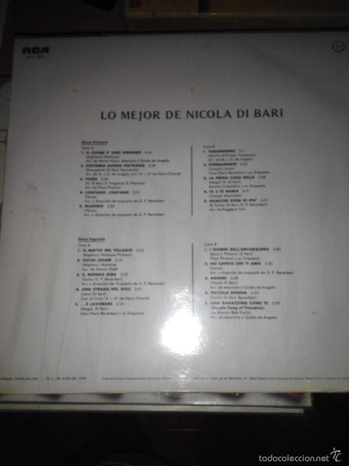 Discos de vinilo: NICOLA DI BARI - LO MEJOR DE SUS CANCIONES 2 LPS - Foto 2 - 59669855