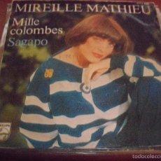 Discos de vinilo: SINGLE DE MIREILLE MATHIEU. MILLE COLOMBES. EDICION PHILIPS DE 1977 (FRANCIA).. Lote 59702427