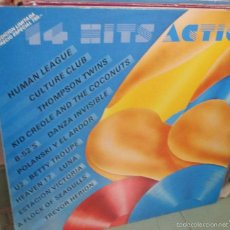 Discos de vinilo: LP 14 HITS ACTION - HUMAN LEAGUE-U2-POLANSKI Y EL ARDOR-HEAVEN 17-DANZA INVISIBLE-B-52'S - NUEVO. Lote 122945378