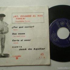 Discos de vinilo: JOSE DE AGUILAR - AY, CUANDO EL VITI TOREA +3 - EP COLUMBIA 1961. Lote 59828932