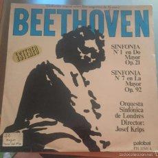 Discos de vinilo: BEETHOVEN. SINFONIA NUMERO 1 Y 7. . Lote 59871504