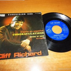 Discos de vinilo: CLIFF RICHARD CONGRATULATIONS CANTA EN ESPAÑOL EUROVISION 1968 SINGLE VINILO 1968 ESPAÑA 2 TEMAS. Lote 60082191