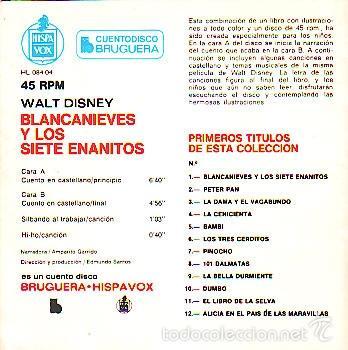 Discos de vinilo: BLANCANIEVES Y LOS SIETE ENANITOS -- CUENTO DISCO - SINGLE - Foto 2 - 60093647