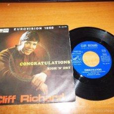 Discos de vinilo: CLIFF RICHARD CONGRATULATIONS EUROVISION 1968 SINGLE VINILO 1968 ESPAÑA LA VOZ DE SU AMO 2 TEMAS. Lote 60192079