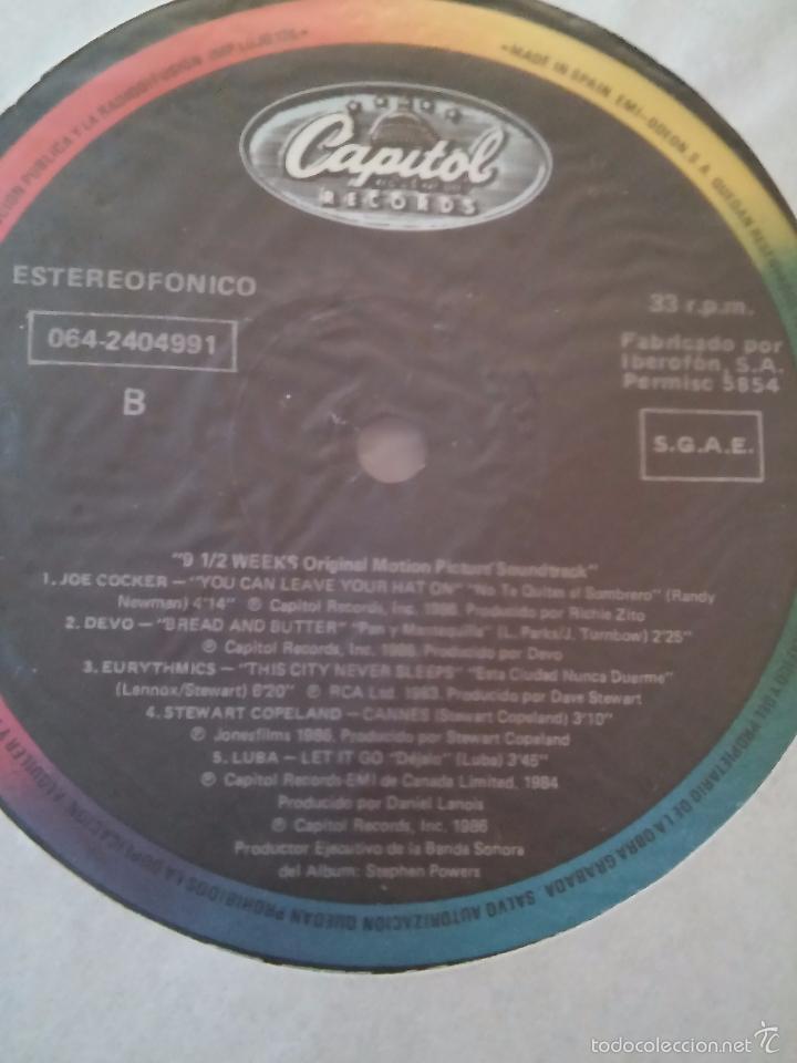 Discos de vinilo: 9 Semanas y Media. Banda Sonora de la película. 1986. - Foto 3 - 48821833