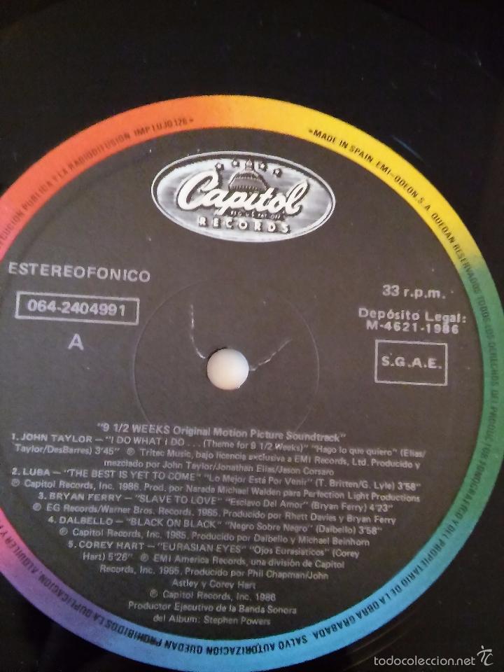 Discos de vinilo: 9 Semanas y Media. Banda Sonora de la película. 1986. - Foto 4 - 48821833