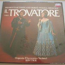 Discos de vinilo: VERDI: IL TROVATORE. PAVAROTTI, SUTHERLAND,... CAJA 3 LP PRECINTADA DECCA. Lote 60223523