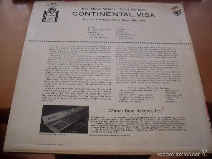 Discos de vinilo: Lp de Raoul Meynard and Orchestra. Continental Visa. Edicion Warner de 1958 (USA). - Foto 2 - 60252399