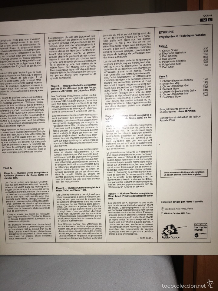 Discos de vinilo: ETHIOPIE-POLYPHONIES ET TECHNIQUES VOCALES-1986-MUY RARO-NUEVO - Foto 2 - 60457970