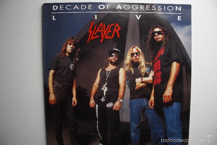 SLAYER- DECADE OF AGGRESSION-LIVE- USA 2 LP 1991+ BOOKLET. (Música - Discos - LP Vinilo - Heavy - Metal)