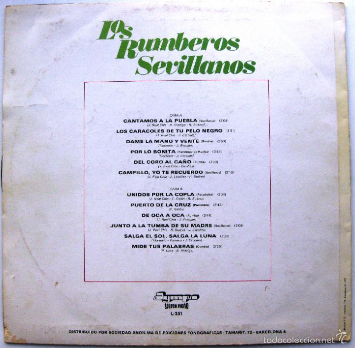 Discos de vinilo: Los Rumberos Sevillanos - Cantamos A La Puebla - LP Olympo 1975 BPY - Foto 2 - 60525515