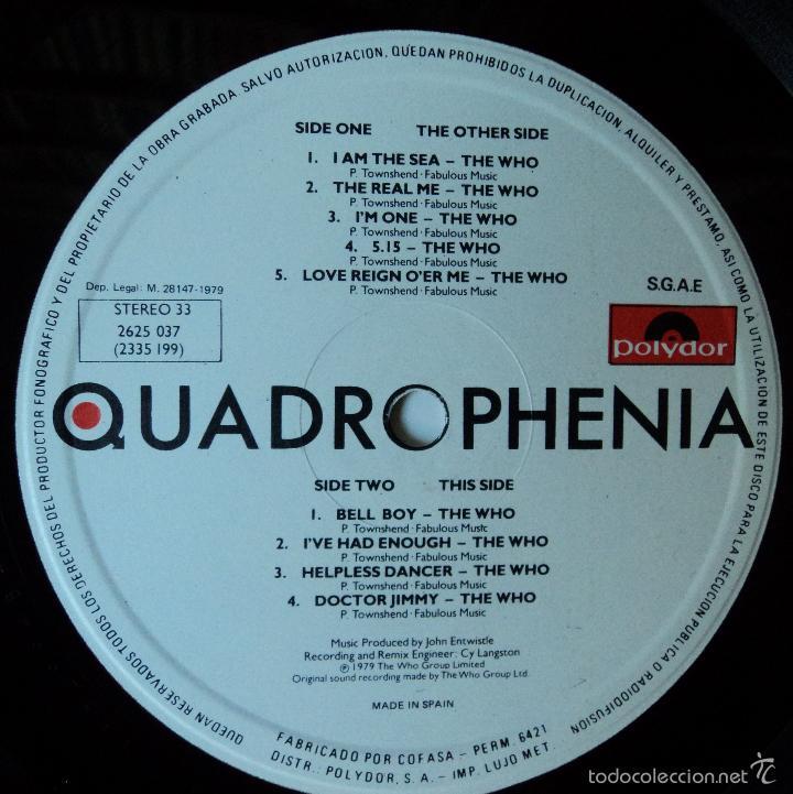 Discos de vinilo: The Who - Quadrophenia (BSO) - Edición de 1979 de España - Doble - Foto 9 - 60660707